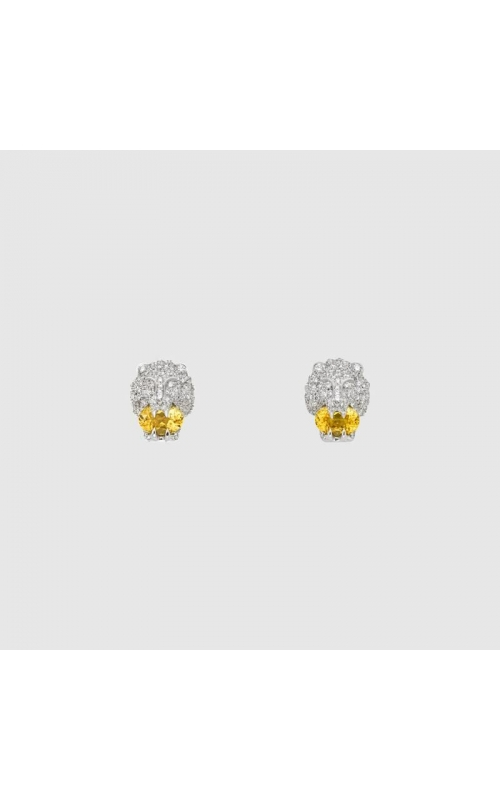 White Gold Lion Head Gucci Earrings product image
